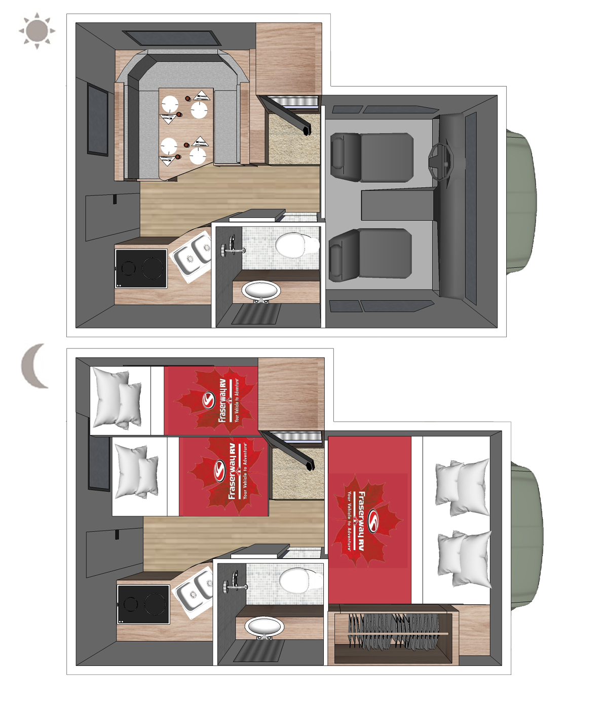 Truck Camper Slide-Bunk Floor plan (day and night)
