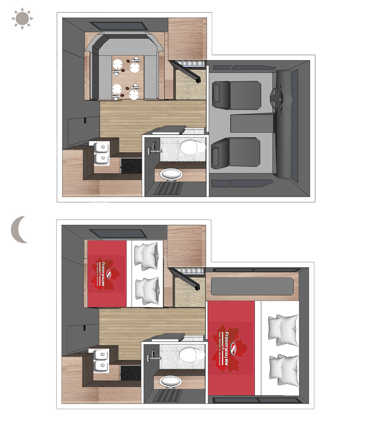 Truck Camper Slide-Dinette Floor plan (day and night)