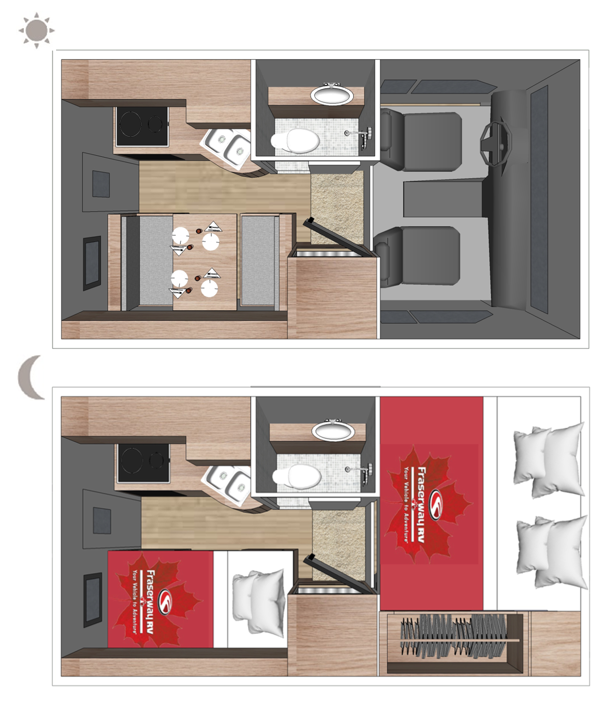 Truck Camper Floor plan (day and night)