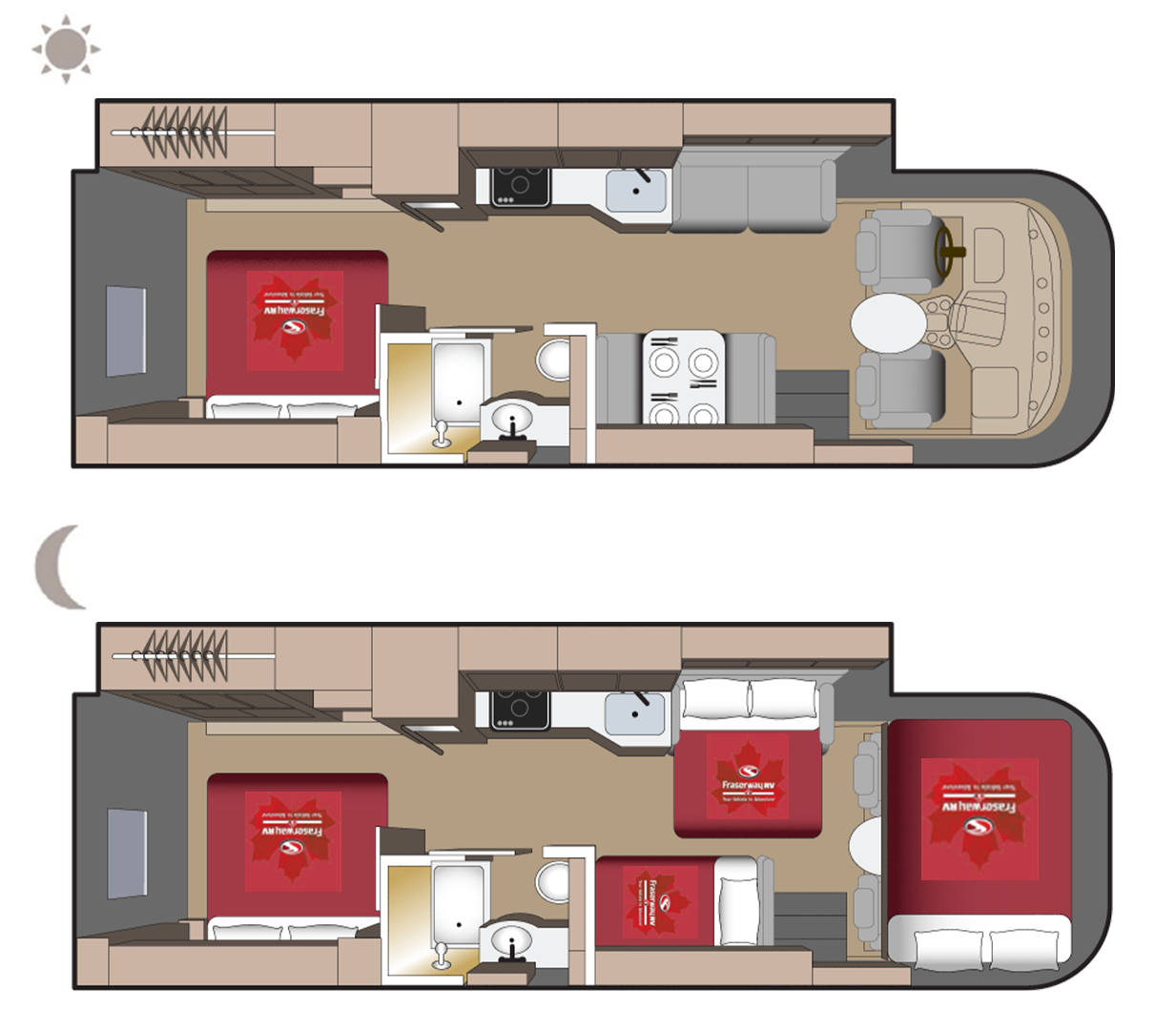 A-Luxury Motorhome Floor plan (day and night)