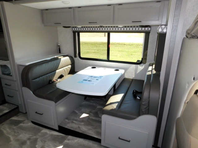 QUANTUM LC27 DREAM DINETTE BOOTH with STORAGE ABOVE and STORAGE DRAWERS BELOW