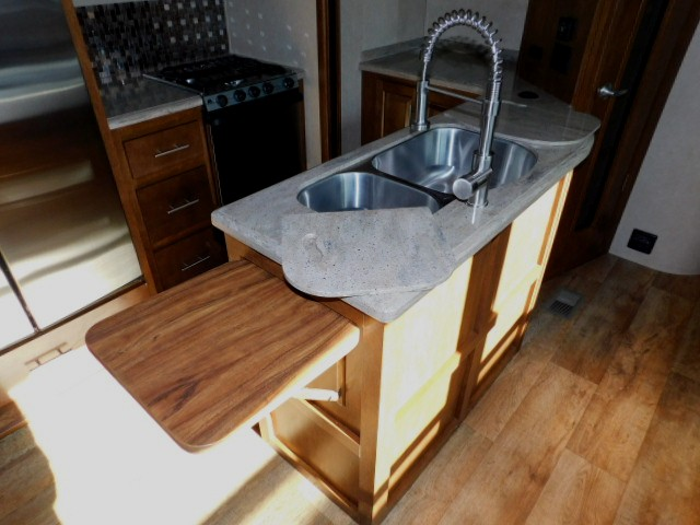 KITCHEN COUNTER TOP EXTENSION, DOUBLE STAINLESS SINKS with COVERS